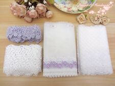 LOT~8Y~Assorted Embroidered Tulle Lace&Venise Lace Trim~White&Purple~Group AO~