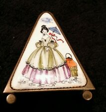 Austrian brass/bronze porcelain Victorian woman letter holder marked desk access