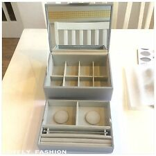 PANDORA Dove Grey Two Tier Medium Size Jewellery Box Mirror Gift