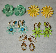 5 VINTAGE pairs FLOWER Enamel & Ceramic SCREW BACK & CLIP-ON Earring LOT