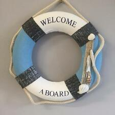 New NAUTICAL LIFEBUOY 'Welcome Aboard' Beach Coastal Home Boat Decor Fish Shell