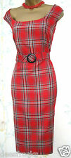 SIZE 8 10 50'S STYLE DRESS WIGGLE GLAMOUR RED TARTAN CHECK SHIFT # US 6  EU 38