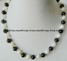 Natural 8mm Black Agate & 7-8mm Cultured Pearl Gemstone Necklace 18'' AAA