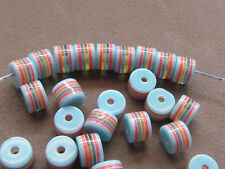 50 Striped Blue Red Black Gold 8x6mm  Resin  Beads(G88E15)