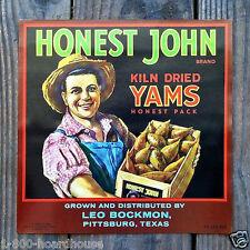 Vintage Original HONEST JOHN YAM VEGETABLE Crate Box Label NOS Unused 1926 Old