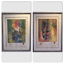 Suite of 2 Signed Hoi LEBADANG (1921-2015) LE Lithograph on Silk Paper Very Rare