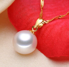 Genuine Real Freshwater Pearl Pendant Solid 18K Gold Perfect Round White