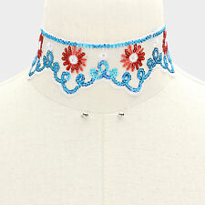 Floral Fantasy Lace and Sequins Choker Set with Tiny Silver-Tone Stud Earrings