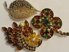 VINTAGE Broochs KARU JULIANA Amber Green TOPAZ Rhinestone JEWELRY EX..Condition
