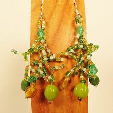 "2"" Green Gold Color Bohemian Mix Bead Style Handmade Dangle Seed Bead Earring"