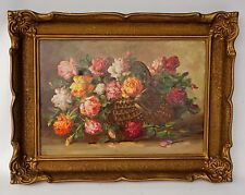 "VINTAGE 1920'S OIL ON CANVAS ROSES STILL LIFE PAINTING PERIOD FRAME 25"" X 19"""