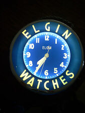 Vintage Original Neon Glo Dial Elgin Watches Advertising 22 Inch Wall Clock