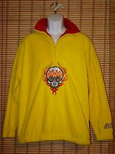 NWT JNCO Yellow Fleece Half Zip Long Sleeve Pull Over Jacket Skull Mens L