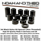 12x Jet Black Nylon 66 Plastic SPACERS Standoff Washer M2 M3 M4 M5 M6 M8 M10 M12