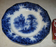 "ANTIQUE 1850's LG. 10 "" J.E. COBURG FLOW BLUE STONEWARE IRONSTONE PLATE CHARGER"