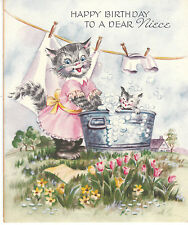 Vintage Birthday Card Dressed Cat with Wash Basin Niece Gibson