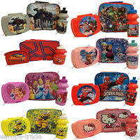KIDS GENIUN DISNEY PICNIC INSULATED LUNCH BAG BOYS GIRLS SANDWICH BOX & BOTTLE