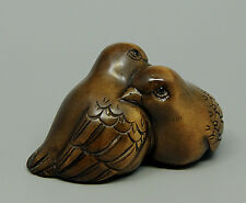 "1940's Japanese Boxwood Wood Netsuke ""2 Birds/Mandarin Duck"" Figurine Carving"