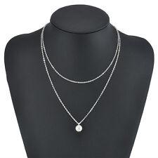 Women Fashion Choker Bib Statement Pearl Charm Pendant Chain Necklace Jewelry