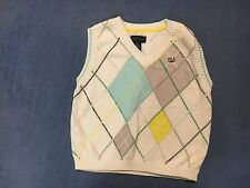 Sean John Boy's White & Blue & Gray Sweater Vest.  Size 4T.