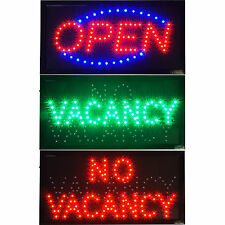 2 in 1 Hotel Motel Vacancy / No Vacancy Rooms LED & Open Lodge Store Sign neon
