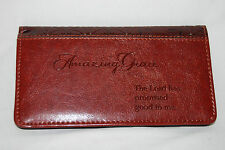 AMAZING GRACE Checkbook Cover Brown Faux Leather Christian Religious