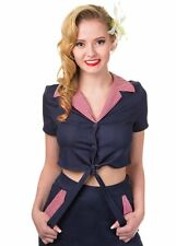BNWT Banned Blueberry Hill Rockabilly Crop Top Tie Denim Shirt Gingham Check L