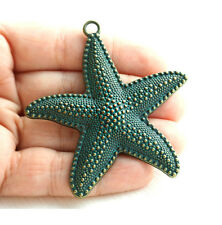 Extra Large Brass Starfish Pendant Green Patina Sea Star Bead Metal Casting F459