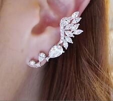 Fashion Punk Silver Water Droplets Shape Crystal Flower Earring Ear Clip Jewelry