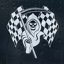 Racing Grim Reaper Chequered Flags Car Wndow Laptop Wall Decal Vinyl Sticker