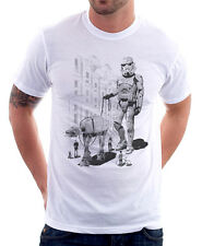 De Stormtrooper Perro waling Star Wars Darth Vader divertida Camiseta Blanca 9770