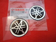 2 x Yamaha Logo Emblem Tuning Fork Resin Sticker Decal 40mm GENUINE YAMAHA
