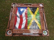 Domino Tables by Art with Jamaican Flag & Puerto Rican Flag Domino Table