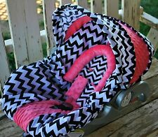 black and white chevron with coral minky infant car seat cover and hood cover