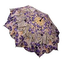 Galleria Van Gogh Irises Art Automatic Open and Close Folding Umbrella Brolly