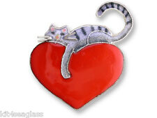Zarah Kitty Love PIN Sterling Silver Cat Red Heart Brooch Gift Box  DISCONTiNUED