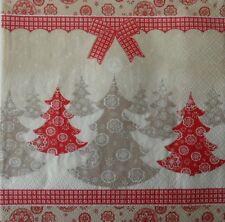 4 X Solo Papel Servilletas Decoupage Artesanía -86 cinta de árbol de Navidad