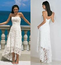 High Low Beach Lace Wedding Dress Bridal Gown Custom Size 4 6 8 10 12 14 16 18+
