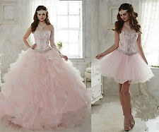 Short/Long Pink Ball Gown Cocktail Prom Party Wedding Quinceanera Dresses Custom