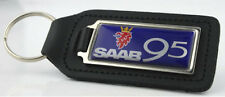 Saab 95 Quality Black Leather Keyring