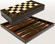 BACKGAMMON SET-WOODEN BOARD GAME-YENIGUN WALNUT ELEGANCE DESIGN 16.5""
