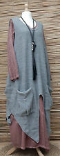 LAGENLOOK OVERSIZE KNIT LONG TUNIC/OVERDRESS/JUMPER/TABARD*GREY*OSFA L-XL-XXL