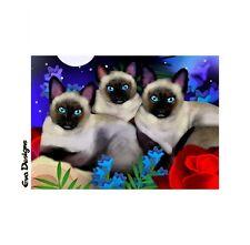 SIAMESE CATS MOON GARDEN GIFT ART PRINT CARD ACEO