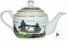 London Tea Pot Teekanne Keramik 17 cm,England Souvenir,Tower Bridge,Big Ben,Neu