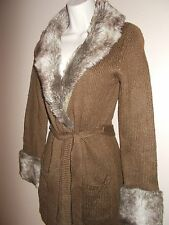 Romeo & Juliet Couture Womens Size S Brown with Fur Trim Sweater Long Sleeves