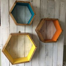 * 3 * hexagonal Estantes geométrica Scandi Retro Marvel Chicos Habitación Regalo Pantalla Brillante