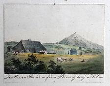 Tittel - 1821  Die Wiesen Baude auf dem Siebengebirge in Böhmen Radierung