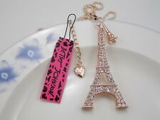 Betsey Johnson Cute fashion inlay Crystal Eiffel Tower  Pendant Necklace A266B