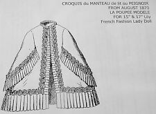 LA POUPEE MODELE PATTERN~MANTEAU DE LIT OU PEIGNOIR FOR FRENCH FASHION LADYDOLL