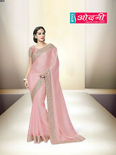 Indian Bollywood Embroidered Eid Special Pink Georgette Satin Party Wear Saree